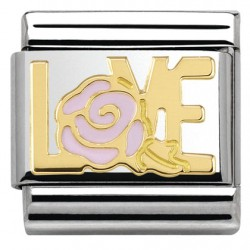 COMPOSABLE DE NOMINATION, ORO 18K, LOVE Y ROSA